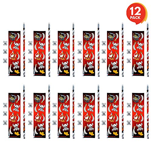 ArtCreativity Pirate Stationery Sets for Kids - 12 Pack - Every Kit Includes Pencil, 3 Erasers, and Cool Assorted Stickers - Pirate Birthday Party Favors, Fun Stationary Gift for Boys and Girls]()