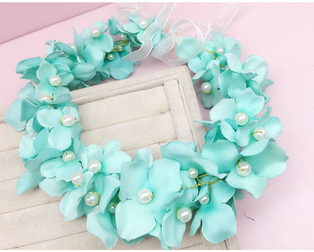 Wreath Flower, Headband Flower Garland Handmade Wedding Bride Party Ribbon Headband Wristband Hairband Pink/White/Purple/Green (Color : C)