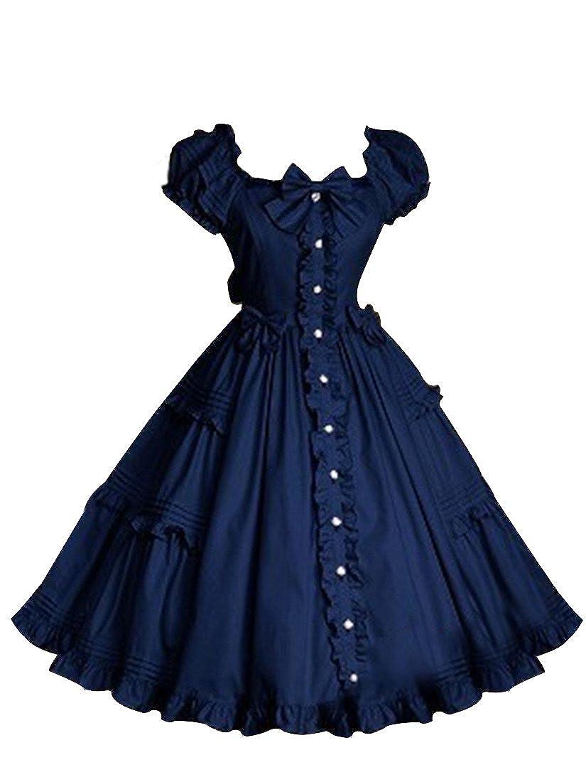 b5eff5d11ee96 NuoqiWomens Lolita Dress Court Sweet Princess Bubble Skirt Cosplay Costumes
