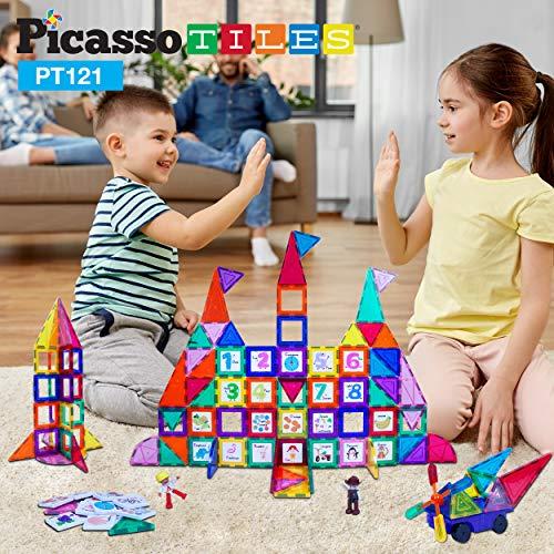 PicassoTiles 121 pc Master Builder Magnetic Building Block Multicolored