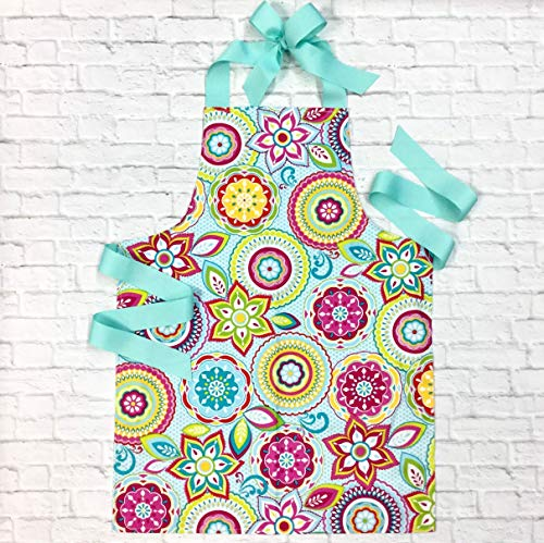 Colorful Handmade Baking Art or Craft Apron Gift for Tween Girl from Sara Sews, Inc.