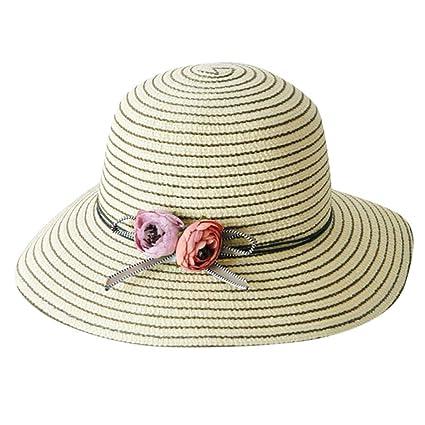 9623b3b61 Amazon.com : WENSY Women's Hat Wide-Brimmed Foldable Cotton Striped ...