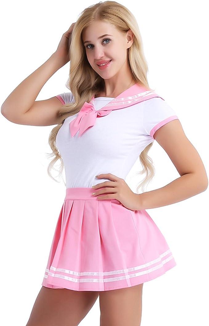 iixpin Uniforme Escolar para Mujer Disfraz Colegiala 2Pcs Mameluco ...