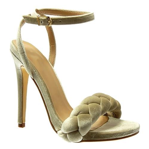 d863efda Angkorly - Zapatillas Moda Sandalias Tacón escarpín Mujer Trenzado Tanga  Talón Tacón de Aguja Alto 12.5 CM: Amazon.es: Zapatos y complementos