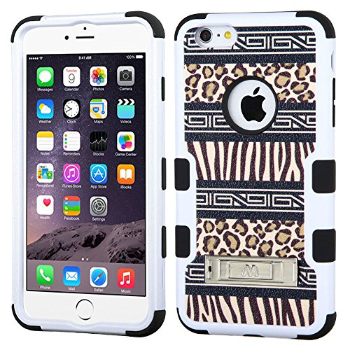 NageBee(TM) - iPhone 6 Plus 5.5 inch case - Design Premium Heavy Duty Defender Hybrid Phone Cover Case with Metal Stand + {LCD Screen Protector Shield(Ultra Clear) + Dust Speaker Plug + Touch Screen Stylus} (Stand Hybrid Zebra Skin-Leopard Skin/Black)