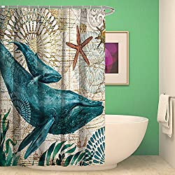 nancy123 Shower Curtain Bathroom Waterproof Dolphin Sea Turtle With 12 Hooks Mildew Resistant