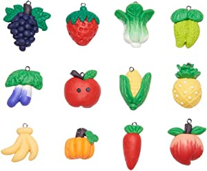 NBEADS 24 Pcs Fruit Theme Polymer Clay Charm Pendants, 12 Different Types of Handmade Polymer Clay Link Charms Fruit Grape Peach Apple Slime Pendants for Phone Straps Key Bag Decor DIY Jewelry Making