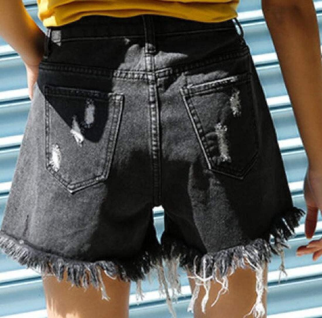 BYWX Women Loose Ripped Distressed Cut Off Irregular Shorts Summer Denim Shorts Jeans Hot Pants