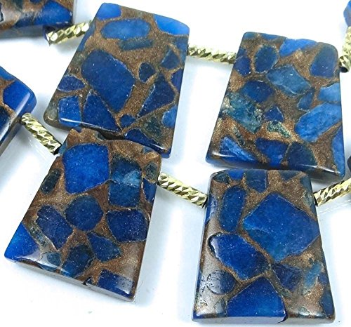 28mm Sapphire in Quartz Pyrite/Bronze Vein Ladder Trapezoid Pendant Beads (6)
