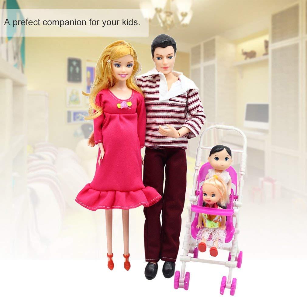 Juego de Muñecas de 5 Personas Muñeca Embarazada Familia Mamá + Papá + Bebé Hijo + 2 Niños + Carro de Bebé Juguetes de Regalo Juguetes para Niños Juguetes para Niños, al Azar FairytaleMM