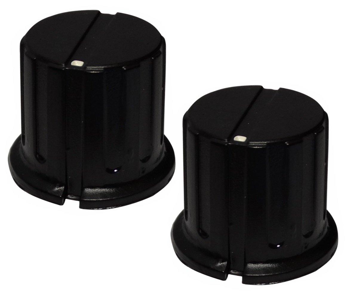 AERZETIX: 2 x botó n para potenció metro de eje lisa 6.35mm Ø 19, 5x20mm de baquelita color negro SK2-C12554-C140