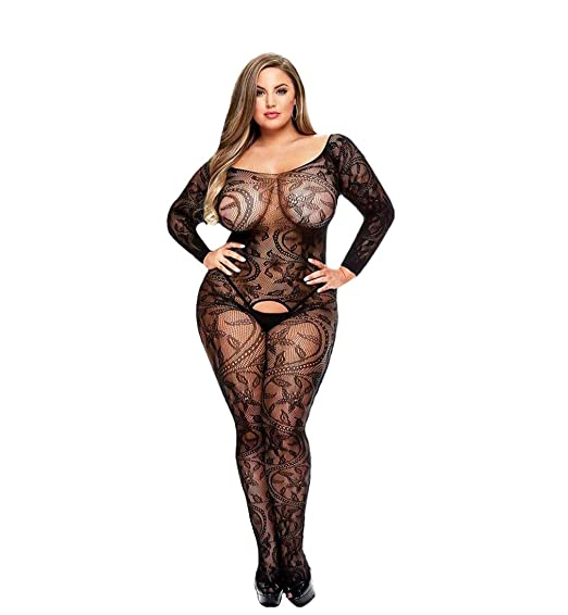 e869e03bffc Curbigals Women Sexy Lingerie Plus Size Crotchless Bodystocking Long  Sleeves Bodysuit (Black