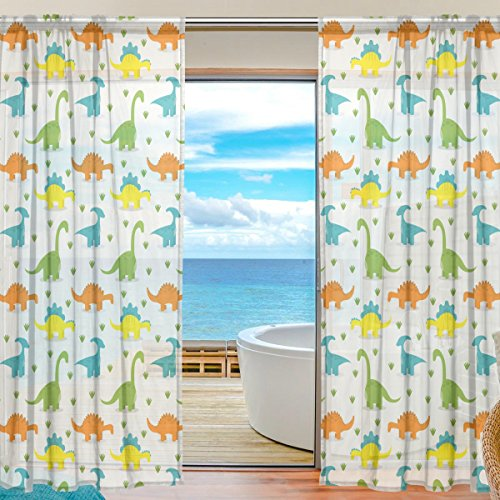 Vantaso Sheer Curtains 84 inch Long Cute Dinosaur for Kids Girls Bedroom Living Room Window Decorative 2 Panels by Vantaso