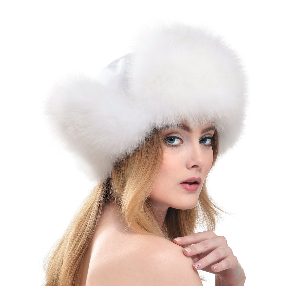 Bellefur Womens Real Fox Fur Cap Russia Hat