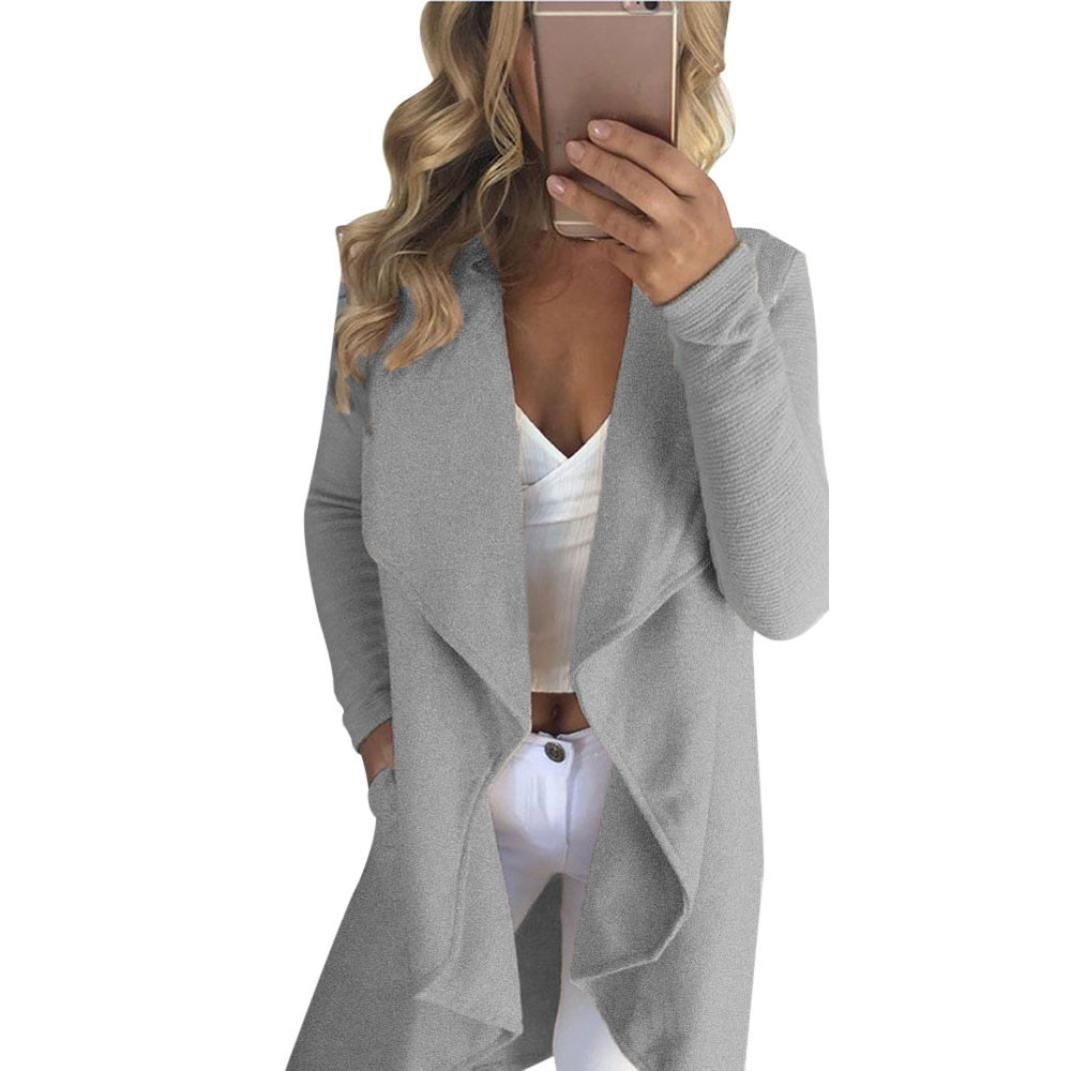 Women Winter Coat, Egmy Ladies Long Sleeve Cardigan Coat Open Front Jacket (S, Gray)