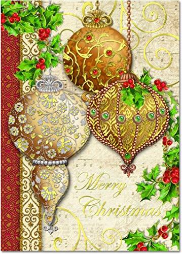 - Punch Studio Holiday Cards: Christmas Ornaments with Holly and Gold Foil Embellishments (Set of 12)