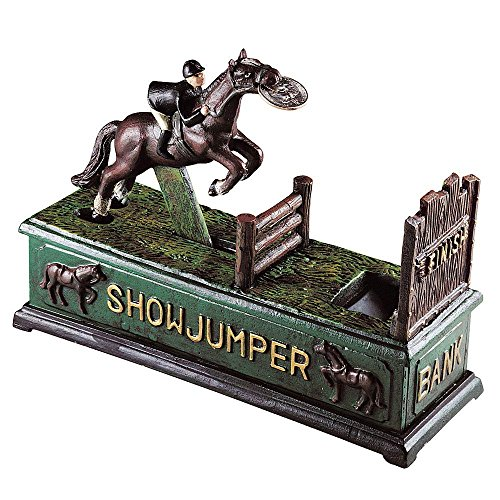Bits and Pieces - Jumping Horse Cast-Iron Mechanical Bank - Novelty Personal Coin Bank for Horse Lovers and Collectors
