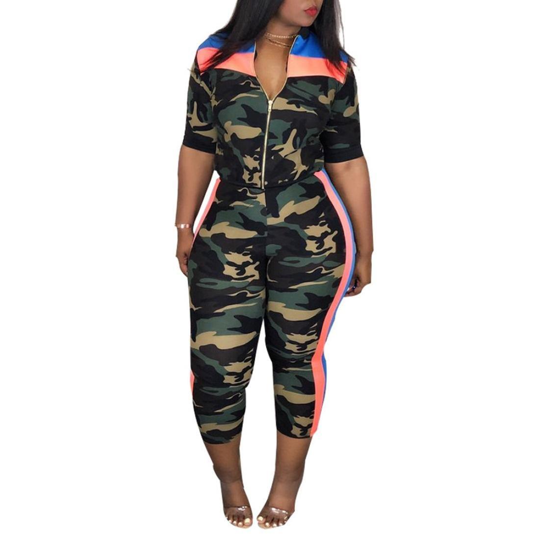 Orangeskycn Sweatshirt For Women Zipper Camouflage Stripe Tops Loose Coat Long Pants