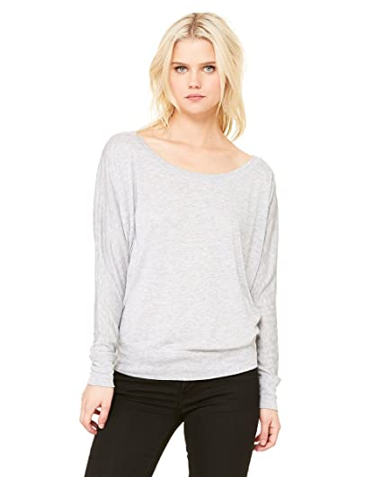 57f355cf9eac Bella 8850 Womens Flowy Long Sleeve Off Shoulder Tee - Athletic  Heather  44  Extra