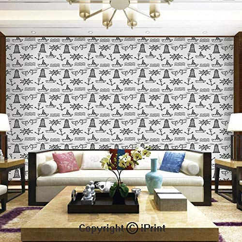 Lionpapa_mural Self-Adhesive Large Wallpaper Better Designs for Living Room,Doodle Style Marine Elements Hand Drawn Nautical Pattern Waves Boats and Birds Decorative,Home Decor - 66x96 inches