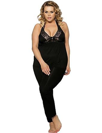 Yummy Bee Womens Pajama Lounge Wear Set Lace Stretch Plus ...