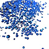 craft gems blue - Mix 6 Size Dark Blue Rhinestones Nail Crystals for Nail Art Flatback 1.5mm-4mm Glass Gems Stones Round Beads for Nails Decoration Crafts Eye Makeup Clothes Shoes (Mix SS4-SS16, Dark Blue)