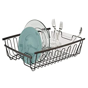 mDesign Large Kitchen Countertop, Sink Dish Drying Rack with Removable Cutlery Tray - Drain and Dry Wine Glasses, Bowls and Dishes - 2 Pieces, Bronze Metal Wire/Clear BPA Free Cutlery Caddy