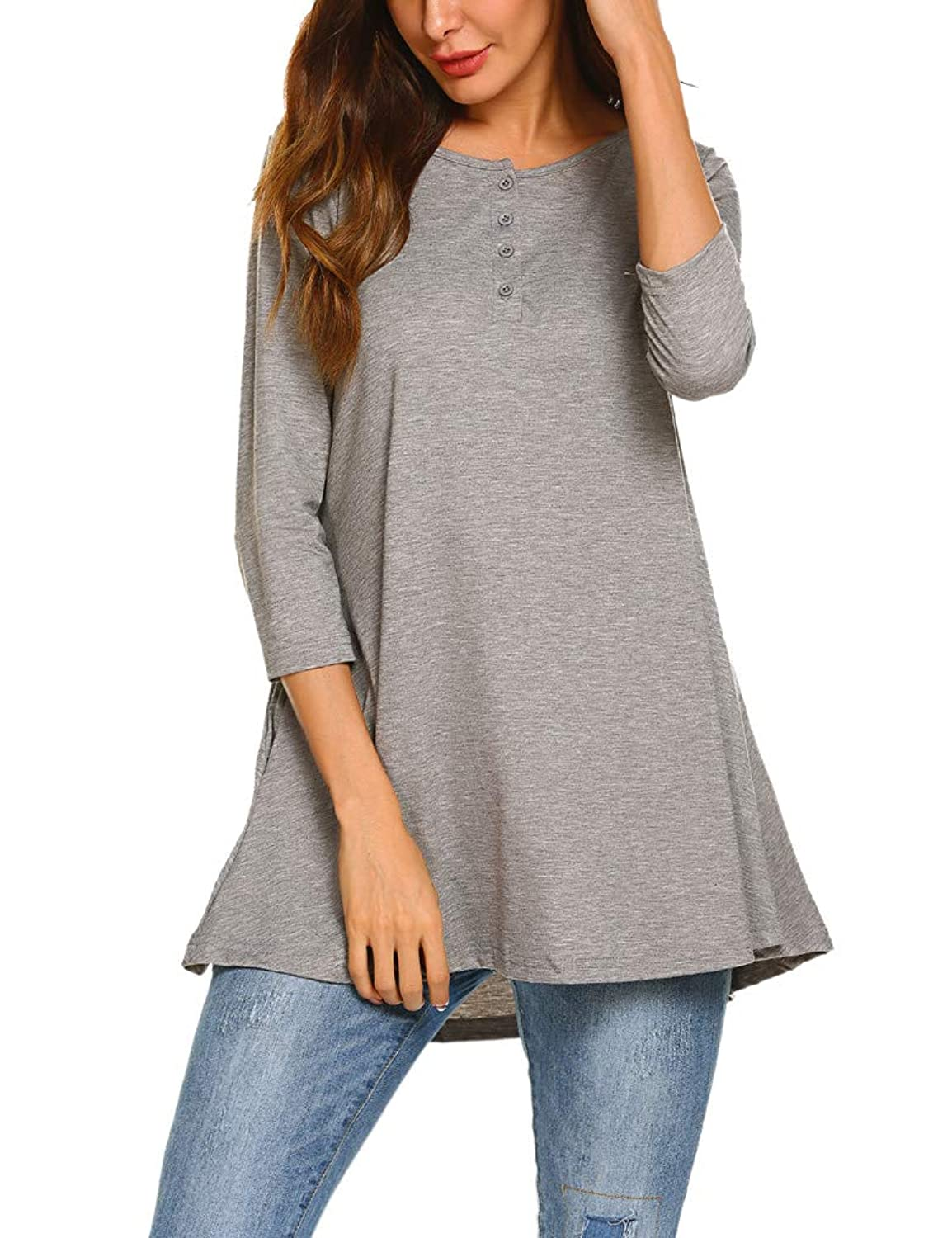 8b265e74731 Its soft and breathable, comfy to wear. Casual Tunic Shirts With Pockets: 3/4  Sleeve Scoop Neck Long Tunic Shirts Loose Tunic Tops Henley Shirts for Women,  ...