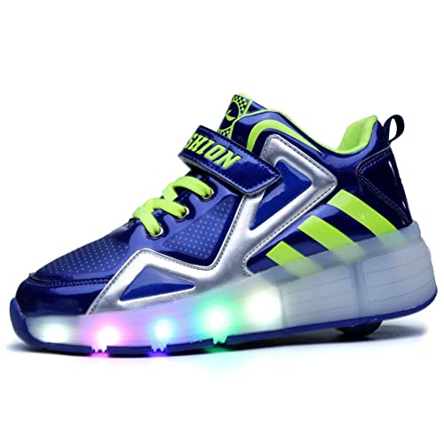 ❤❤❤Ruedas Ajustables LED Zapatillas con Luces Ruedas Color Deporte Zapatos de Skate Roller Deportivos Zapatos High Top Running Shoes Trainers Monopatín ...