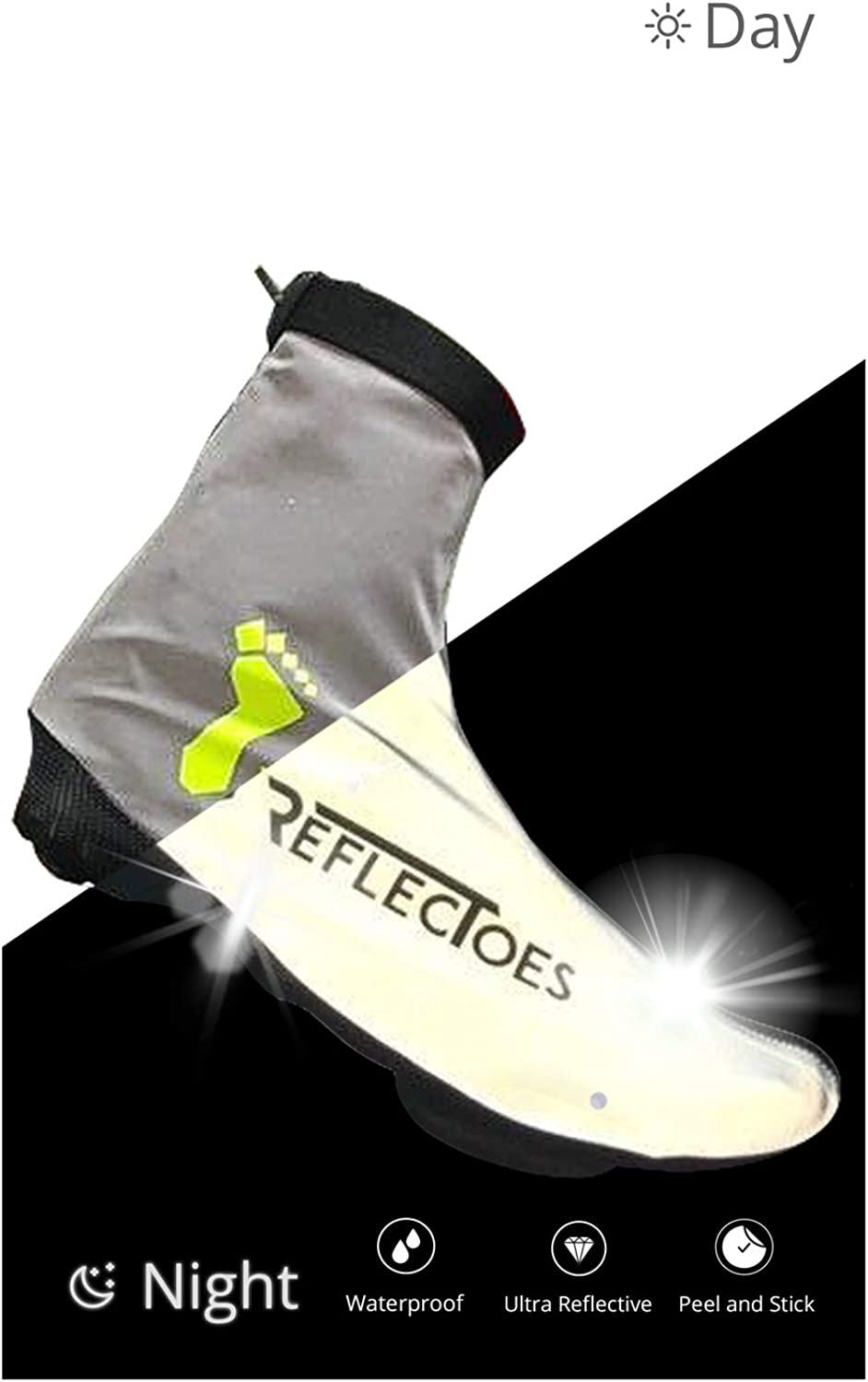 ReflecToes Full Reflective Winter Bike Shoe Covers for Cycling - Waterproof, Windproof Overshoes with 4-Way Stretch Material, Rear Zipper & BioMotion Technology - for Men & Women