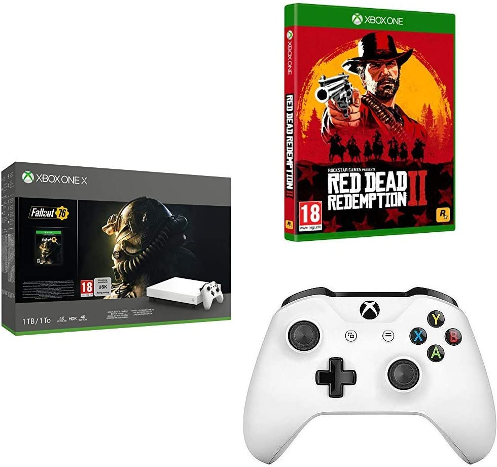 Microsoft Xbox One X - Consola 1 TB, Color Blanco + Fallout 76 + Red Dead Redemption 2 (Xbox One) + Volante/mando (Gamepad, PC, Xbox One S, Analógico/Digital, D-pad, Inalámbrico, Bluetooth): Amazon.es: Videojuegos