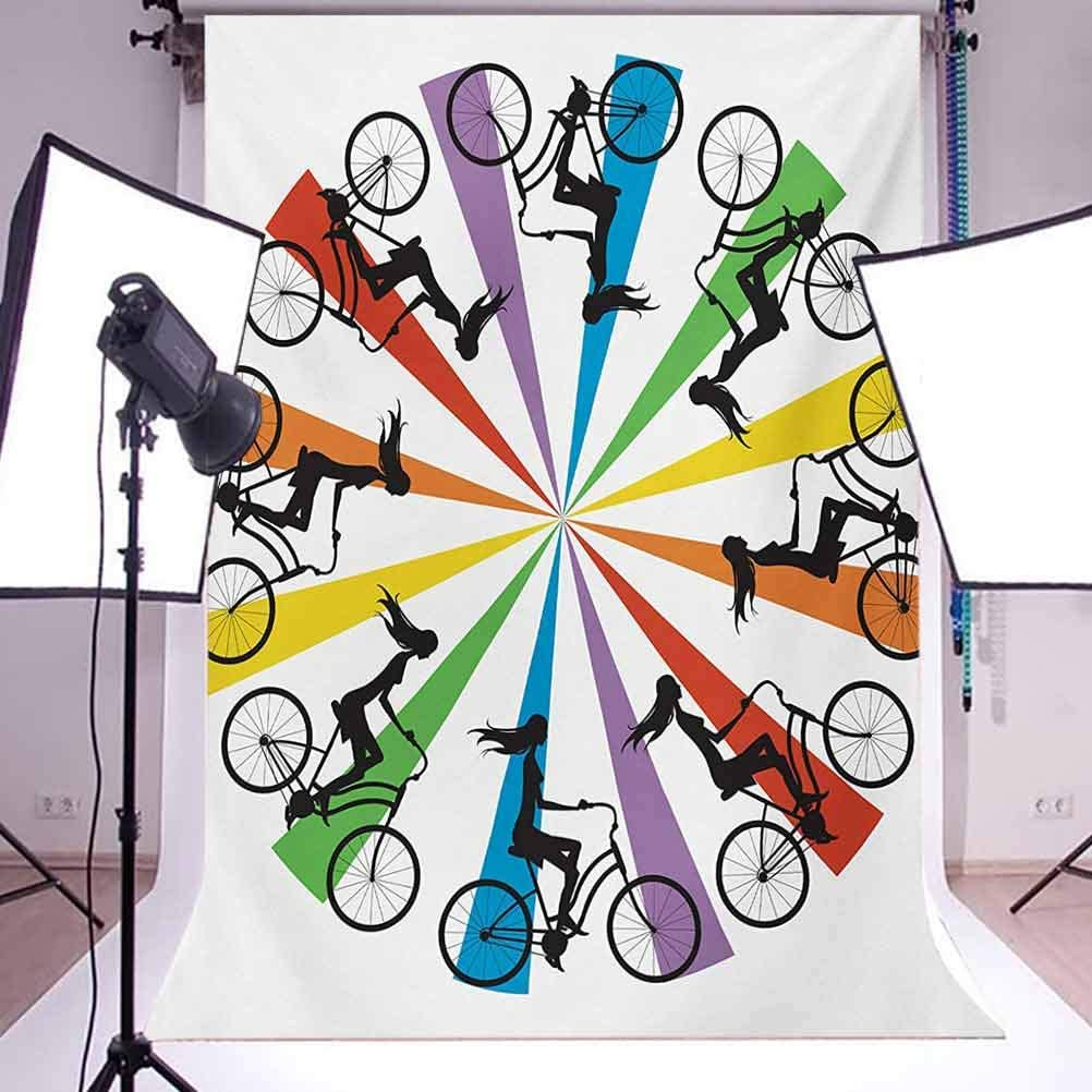10x12 FT Photography Backdrop Abstract Silhouette Girls on Bike Colorful Wheel Relax Exercising Enjoyment Theme Background for Kid Baby Artistic Portrait Photo Shoot Studio Props Video Drape