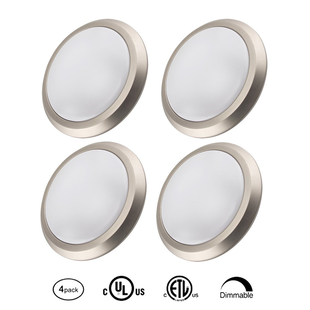 15W LED Disk Light for 4'', 5'', 6'' recessed and 4'' J-Box, Surface & Recessed Mount Downlight Kit, Dimmable 120W Equivalent 3000K Warm White,Brushed Nickel Finish,4 Pack