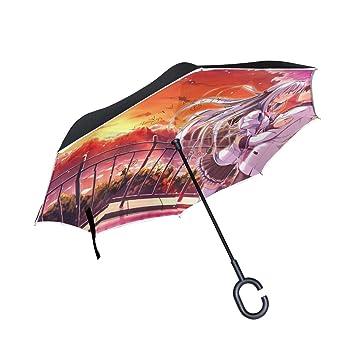 Amazon.com: Paraguas reversible personalizado Anime Love ...