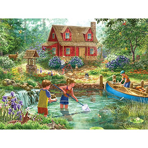 Bits and Pieces - 300 Large Piece Jigsaw Puzzle for Adults - Summer Retreat - 300 pc Lake Cabin, Animals Jigsaw by Artist Liz Goodrick-Dillon