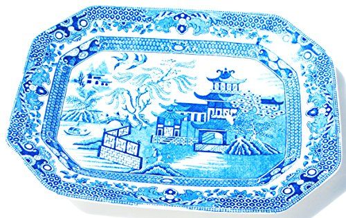 (Blue Willow Rectangler Serving Platter - Antique Made in)