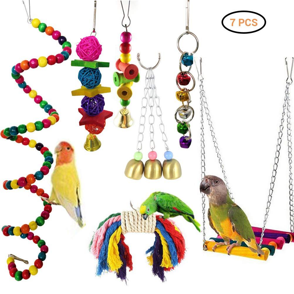 Hihey Juguete Periquito 7 Piezas pájaro Juguete pájaro Loro ...