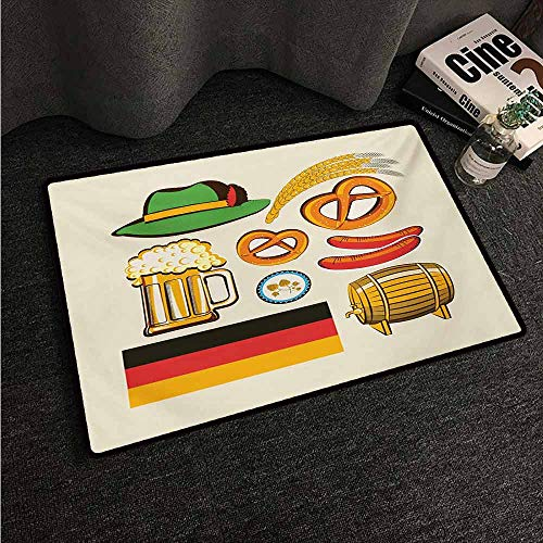 HCCJLCKS Bedroom Doormat German Oktoberfest Symbols Wheat Sausage Beer and Pretzels Colorful Bavarian Arrangement Suitable for Outdoor and Indoor use W24 xL35 Multicolor