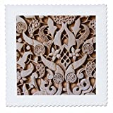 3D Rose Granada Spain Alhambra Detail of Architecture in Nasrid Palace Quilt Square, 8 x 8