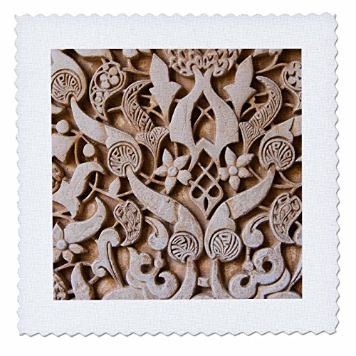 3D Rose Granada Spain Alhambra Detail of Architecture in Nasrid Palace Quilt Square, 8 x 8 by 3dRose