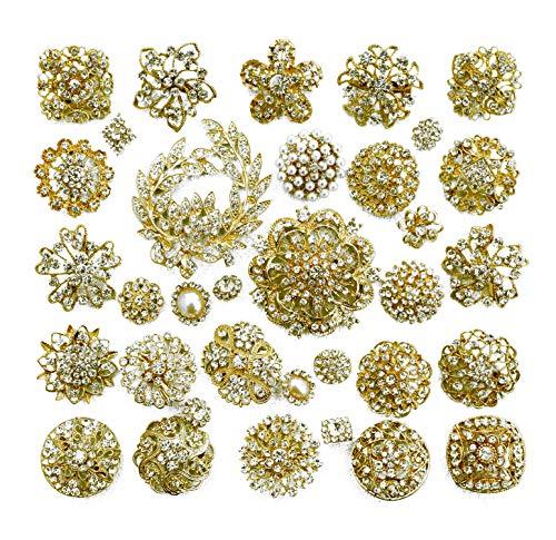 32 pcs Rhinestone Gold Brooch Lot Assorted Crystal Brooch & Button Wedding Brooch Bouquet DIY Kit AMBR673