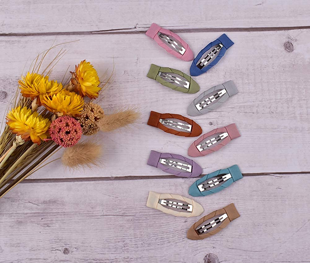 EEBON 50pcs Baby Snap Barrettes Morandi Colors Fully wrapped Metal Hair Clip for Toddler Girl Hair Accessories Assorted