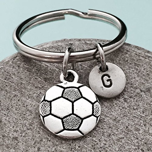 Soccer ball keychain, soccer ball charm, sports keychain, personalized keychain, initial keychain, customized keychain, monogram by Toodaughters