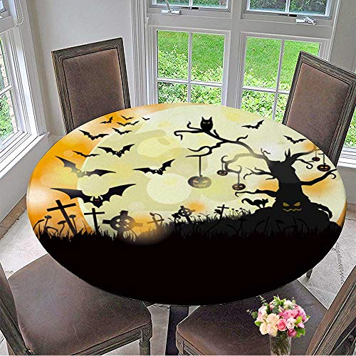 Mikihome Circular Table Cover Halloween Flyer Design with Big Moon Eps Vector File. for Wedding/Banquet 55