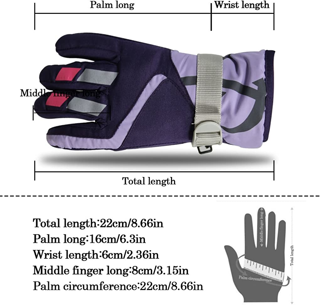 Momoon Kids Winter Gloves Toddler Snow Gloves 2 Pairs Adjustable Warm Gloves for boys and girls