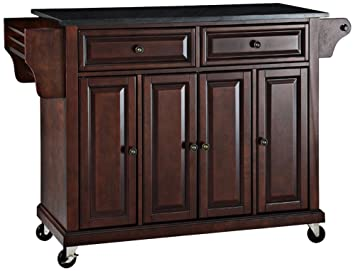 Crosley Furniture Rolling Kitchen Island With Solid Black Granite Top Vintage Mahogany
