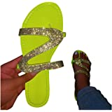 Vedolay Sandals for Women, Comfy Shining Diamond Roman Shoes Casual Summer Beach Travel Indoor Outdoor Flip Flops…