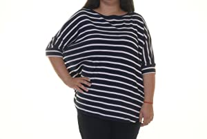 American Living Womens Waffl Striped Pullover Top Blue XL