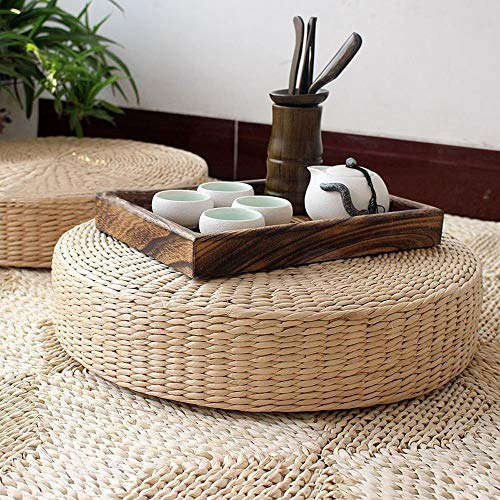 LB Japanese Style Handcrafted Eco-Friendly Breathable Padded Knitted Straw Flat Seat Cushion,Hand Woven Tatami Cushion Best for Zen,Yoga Practice or Meditation (L: 19.7