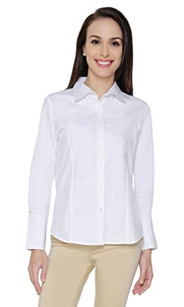 The Cotton Company Women s Formal Shirt - White  (Shirts011 F Valentina White S)  Amazon.in  Clothing   Accessories 7ffc9e529